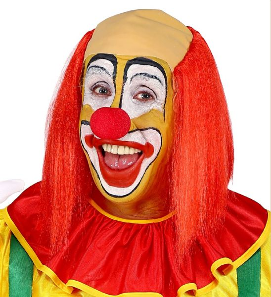Adults Unisex Clown Headpiece with Red Straight Hair Circus Fancy Dress Wig